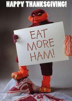 """Hokie Bird! haha this is fabulous.All you hokies out there, make sure you """"EAT MORE HAM!"""" this Turkey Day"""