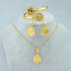 Find More Jewelry Sets Information about Gold Coin Set Earrings/Pendant Chain/Bracelet or Bangle 45cm/60cm Chain Sets Jewelry Saint George Killing Dragon,18k Gold Plated,High Quality earings wholesale,China set earring Suppliers, Cheap set sail from Golden Mark Jewelry Factory on Aliexpress.com Cheap Earrings, Stud Earrings, Bangle Bracelets, Bangles, Coin Necklace, Gold Coins, Gold Pendant, Jewelry Sets, 18k Gold