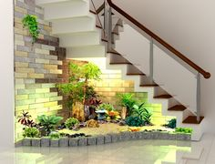 inside garden with stairs Home Stairs Design, Railing Design, Interior Stairs, Staircase Wall Decor, Stair Decor, Inside Garden, Stairs Architecture, Modern Stairs, House Plants Decor