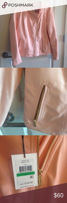 Calvin Klein Pink Faux Leather Jacket Calvin Klein faux leather jacket in pink. Shellface (faux leather) is 100% polyurethane with rib knits on the side and sleeves that are 96% cotton, 4% spandex. Jacket is gorgeous light pink, has nice zipper pockets and would look cute with skinny jeans or could make a dress edgy and fun. NWT, new with tags. I loved the color but need to be realistic about what shades of pink I can rock. Calvin Klein Jackets & Coats Utility Jackets