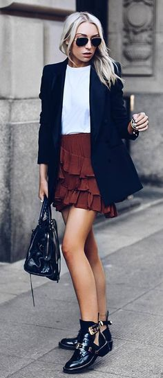 fashion trends black blazer top bag skirt boots