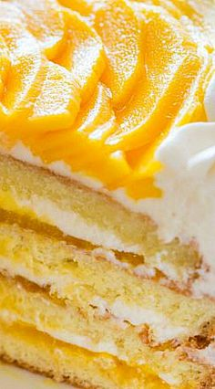 This mango cake is bursting with fresh mango flavor! An impressive, show-stopping mango cake recipe with only 9 ingredients. 3 Layer Cakes, Layer Cake Recipes, Frosting Recipes, Tropical Desserts, Mango Cake, Bakery Cakes, Eat Dessert First, Piece Of Cakes, Let Them Eat Cake