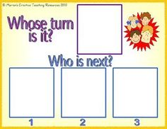Use photos of children to show whose turn it is and who needs to wait. Change/rotate photos as required. Classroom Behavior Management, Behaviour Management, Speech Language Pathology, Speech And Language, Language Activities, Learning Activities, Teaching Social Skills, Interactive Display, Social Thinking