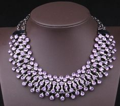 Luxury Purple Crystal Statement Necklace Bib by Attractivenecklace, $16.80