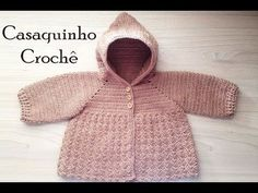 Crochet jacket with hood step by step Professor Simone Crochet Baby Sweaters, Crochet Baby Shoes, Newborn Crochet, Crochet Clothes, Baby Knitting, Crochet Jacket, Crochet Blouse, Bebe Baby, Baby Coat