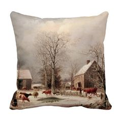 Farmyard in Winter Painting by George Durrie PILLOW