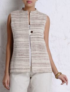 Buy Brown Ivory Handspun Khadi Sleeveless Jacket SALE! The Chic Lineup 20% off cotton apparel for an effortless season Online at Jaypore.com