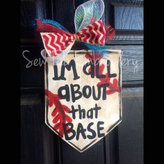 Spring baseball Wooden Door Hanger  by SewFabEmbroidery on Etsy