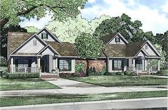 Duplex with Courtyard - 60509ND | 1st Floor Master Suite, Butler Walk-in Pantry, CAD Available, Courtyard, PDF | Architectural Designs