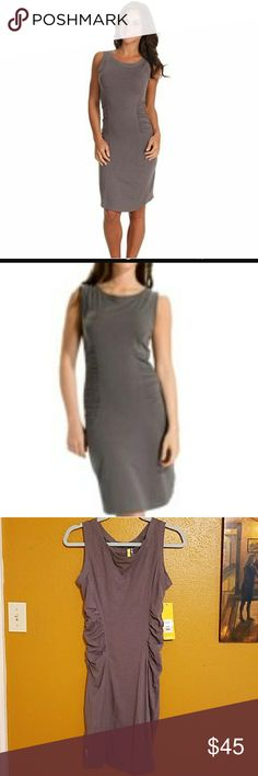 """Lole Adventure Dress Grey organic cotton dress with ruching along both sides.  36"""" long.  Lying flat, 17"""" across the bust.  Stretchy.  Natural antibacterial. Lole Dresses"""