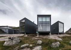 """KOKO Architects Create an Off-Grid Lodge for Hikers in Norway. This collection of cabins is set among the rocky hills of Soddatjørn in Norway. The project has been completed by KOKO Architects and is called """"The Skåpet Prefab Cabins, Prefab Homes, Zinc Cladding, Modular Home Designs, Off Grid Cabin, Fjord, Stavanger, Luxury Accommodation, Interior Exterior"""