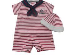 Baby jungen rot stripey nautisch matrose strampler & hut kleidung
