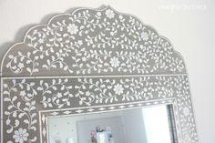 A DIY stenciled mirror using the Indian Inlay Stencil kit. http://www.cuttingedgestencils.com/indian-inlay-stencil-furniture.html