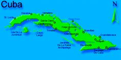 Map of the Island of Cuba the largest of the Antilles