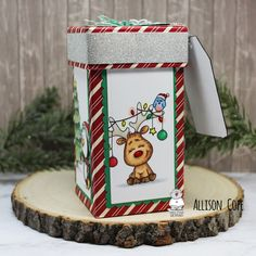 Merry Little Gift Box by Allison Cope featuring all Digital Stamps from Gerda Steiner Designs White Gel Pen, Gift Exchange, Holiday Tree, Happy Thursday, Gel Pens, Digital Stamps, Red Stripes, Pattern Paper, Small Gifts