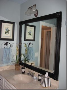 Framing Mirror With Wood And Corner Blocks. Would Look Better If Added  Crown Molding To