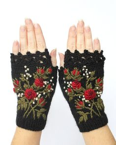 Hand Knitted Fingerless Gloves, Gloves & Mittens, Gift Ideas, For Her, Winter Accessories, Grey, Red, Green, Flowers, Elegant, Roses,