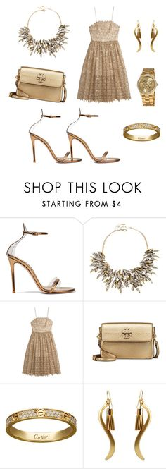 """""""Gold Fashion✨"""" by sarah-ochmann ❤ liked on Polyvore featuring Gianvito Rossi, Amrita Singh, Tory Burch, Cartier and Vernier"""