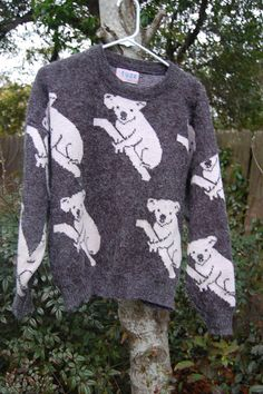Vintage 80s Fuze Gray Koala Bears Pullover Sweater by MaidenhairVintage, $25.00