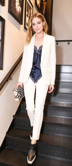Olivia Palermo shows you the best way to rock a white suit.