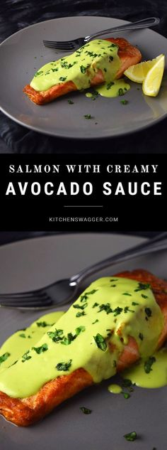 Unbelievable Pan-seared salmon topped with an easy, creamy avocado sauce. The post Pan-seared salmon topped with an easy, creamy avocado sauce…. appeared first on Lully Recipes . Salmon Dishes, Fish Dishes, Seafood Dishes, Seafood Recipes, Recipes Dinner, Sauce Recipes, Paleo Dinner, Milk Recipes, Lunch Recipes