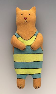 Cat in Stripes Wally - Ceramic Wall Art Sculpture by saraswink on Etsy