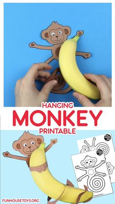 This fun monkey craft activity isn't just for hanging off the ceiling but how about hugging a banana. Kids will enjoy a healthy snack with a fun crafting twist. Plus, it also makes a fun classroom or home decoration. Printable Activities For Kids, Preschool Learning Activities, Printable Crafts, Toddler Learning, Preschool Crafts, Toddler Activities, Monkey Crafts, Baby Crafts, Toddler Art