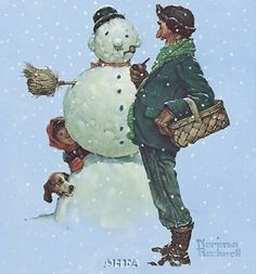 Snow Sculpturing poster print by Norman Rockwell Norman Rockwell Prints, Norman Rockwell Paintings, Christmas Illustration, Illustration Art, Norman Rockwell Christmas, The Saturdays, Snow Sculptures, Mail Art, Caricatures