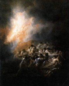 "artist-goya: "" Fire at Night, Francisco Goya Medium: oil,tin "" Spanish Painters, Spanish Artists, Art Espagnole, Lone Wolf And Cub, Renaissance Kunst, Art Database, Classical Art, Dark Art, Art History"