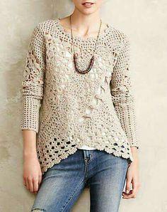 Fabulous Crochet a Little Black Crochet Dress Ideas. Georgeous Crochet a Little Black Crochet Dress Ideas. Blouse Au Crochet, Débardeurs Au Crochet, Pull Crochet, Gilet Crochet, Mode Crochet, Black Crochet Dress, Crochet Shirt, Crochet Jacket, Crochet Woman