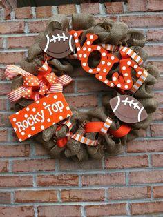 Tennessee Vols Burlap Wreath. $55.00, via Etsy.