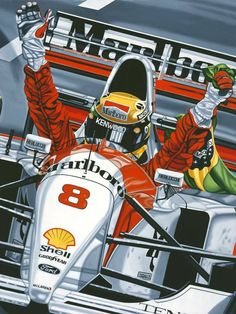 THE LAST VICTORY 1993 Australian Grand Prix: Ayrton Senna's final race for the McLaren Team in was typical of the true character and team spirit of one of the greatest racing drivers of all time. Originally painted by Colin Carter. Grand Prix, Ferrari F1, F1 Posters, Auto Poster, Gilles Villeneuve, Formula 1 Car, Mclaren F1, Car Drawings, F1 Racing