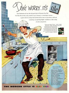 A vintage advertisement from 1951 for yellow and blue kitchen tile... in a kitchen filled with blue steel cabinets.