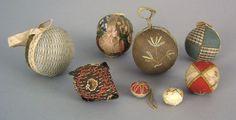 Pennsylvania fabric and ribbon pincushion balls, 19th c.
