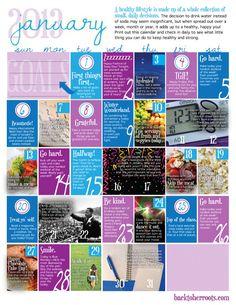 Free printable wellness calendar for January 2013 from backtoherroots.com