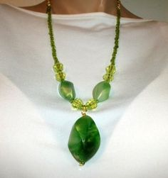 Green Chunky Bead Dangle Necklace by Culbertscreations on Etsy