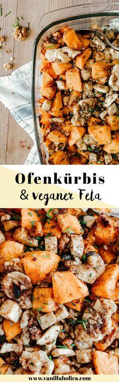 Oven squash with vegan feta and walnuts / vegan, easy pumpkin recipe - Detox Rezepte - FoodnDrink Cream Of Pumpkin Soup, Pumpkin Risotto, Vegan Pumpkin, Pumpkin Recipes, Detox Recipes, Healthy Recipes, Detox Foods, Veggie Dinner Recipes, Feta