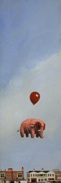 """Michael Rose through the Day 4"""" x 12"""" Oil on panel Nathan Durfee"""