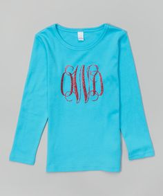 Aqua Monogram Tee - Infant, Toddler & Girls #zulily #zulilyfinds