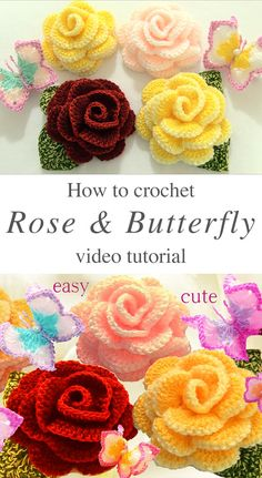 Crochet Flower Patterns Roses Butterfly Flower Crochet Free Pattern Video Tutorial - Rose crochet flowers are so beautiful and I use them everywhere in my house! And, this rose crochet flower is as beautiful as the original flower. Crochet Butterfly Pattern, Crochet Puff Flower, Crochet Flower Tutorial, Crochet Roses, Rose Tutorial, Free Crochet Flower Patterns, Knit Flowers, Crochet Ideas, Knitted Flower Pattern