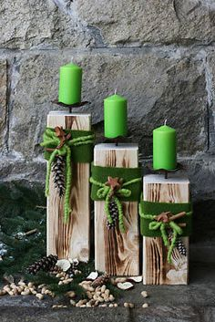 Holz Säule Kerzenständer Rustique Landhaus Kerze Dekoration Wohnen Deko Edelrost in Möbel & Wohnen, Dekoration, Sonstige Noel Christmas, Christmas Candles, Country Christmas, Christmas Ornaments, Christmas Projects, Holiday Crafts, Christmas Ideas, Wooden Pillars, Navidad Diy