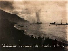 SS Dacia french cable layer at the moment of the explosion 3-XII-1916, Funchal bay, Madeira island.