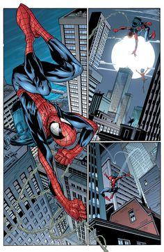 Spider-Man by Mark Bagley & Art Thibert Marvel Art, Marvel Dc Comics, Marvel Heroes, Marvel Avengers, Amazing Spiderman, Spiderman Art, Black Spiderman, Comic Book Characters, Marvel Characters