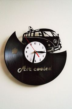 VW Camper van design vinyl record wall clock home art kids bedroom move game