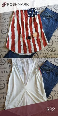 *NEW ARRIVAL* Flag tank with peekaboo chiffon back This adorable flowy flag tank is perfect for the 4th of July or just showing some American spirit! Top and bottom of back are sheer chiffon for a sexy bit of flair. XXL but fits like XL Tops Tank Tops