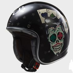 LS2 casque jet FIBRE moto scooter OF583.31 TATTOO noir brillant