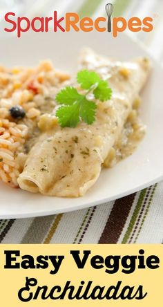 Easy Vegetable Enchiladas. YUM! Even the non-vegetarians loved this one!| via @SparkPeople #recipe #enchiladas #healthy