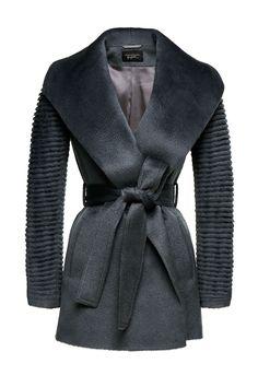Shawl Collar Wrap Coat with Ribbed Sleeves in Suri Alpaca FW17 Pre Order