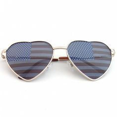Cute Metal Frame Heart Shaped Independence Day American Flag Sunglasses. Tag your photos using #EEAmericanHeart on our Instagram!