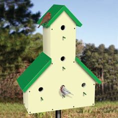 "Five Room Birdhouse Pattern.  Enjoy watching the birds? Than you will enjoy watching them raise their families in this attractive 5 room birhouse. Remove front or back panel for clean out. 26""H x 21""W x 9""D.   Pattern #2412  $12.95  ( crafting, crafts, woodcraft, pattern, woodworking, birdhouse ) Pattern by Sherwood Creations"